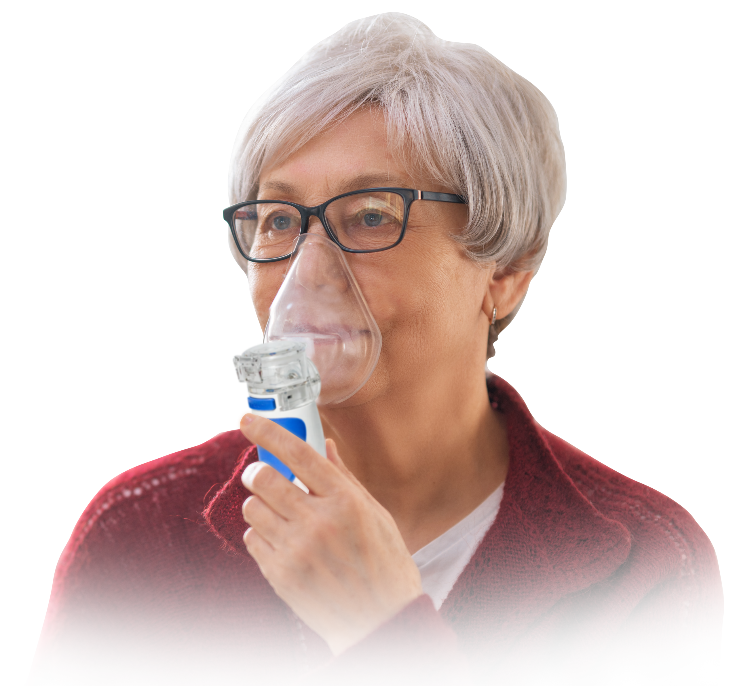 Lady using TruNeb Portable Nebulizer Machine in & near Lakeland, FL